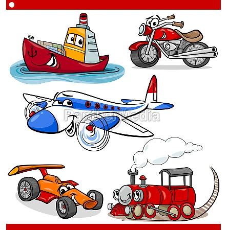 lustigen comic fahrzeuge und autos gesetzt