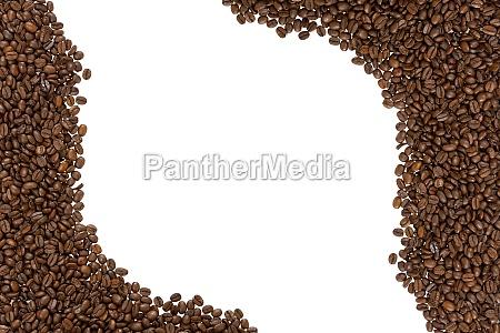 rahmen aus geroesteten kaffeebohnen links und