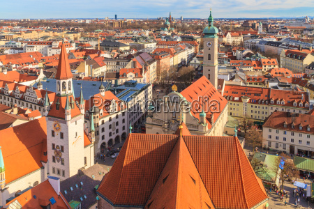 munich panorama with old city hall