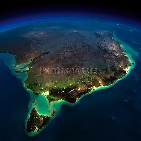 night earth part of australia tasmania