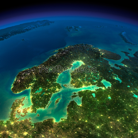 night earth europe scandinavia