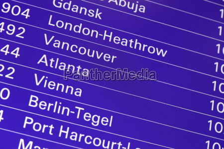display board for flights at the