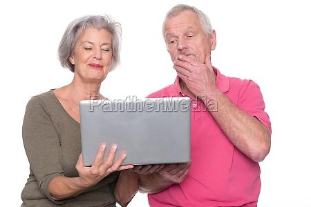 seniorenpaar, mit, computer - 11138184