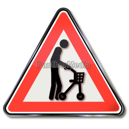 schild mit alter mensch mit rollender