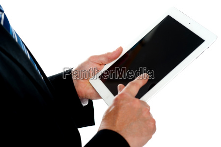 man operating touch screen device focus