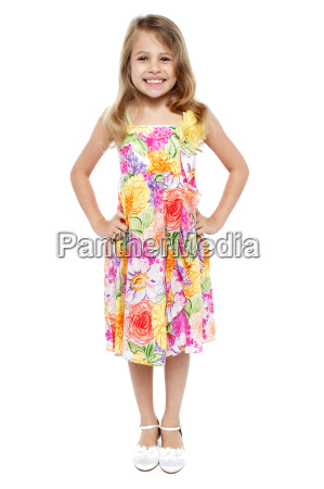 adorable girl child in floral frock