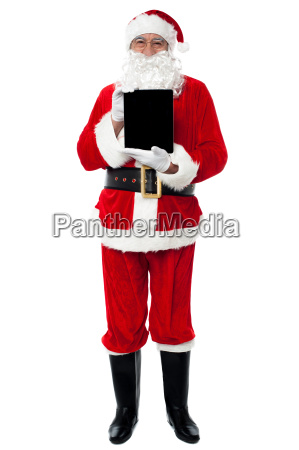 santa showing newly launched tablet pc