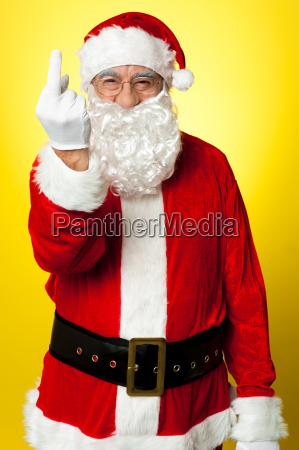 angry santa showing middle finger