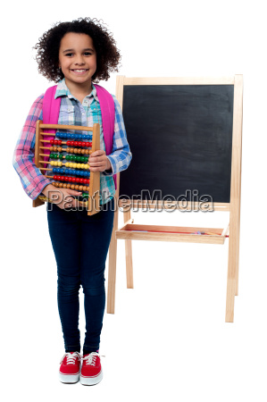 school girl with abacus and pink