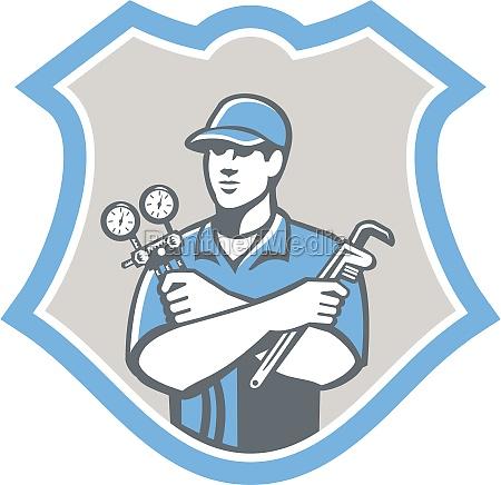 kuehlung klimaanlage mechaniker schild retro