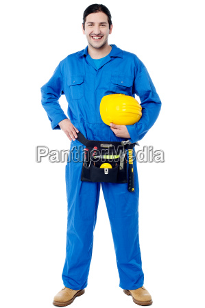 smiling young construction worker