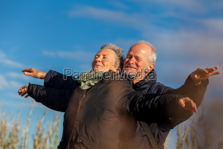 older seniors couple happy laughing on