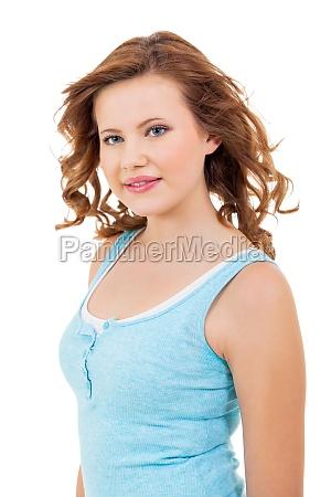 blondes maedchen teenager mit blauen augen