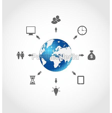 globale internet kommunikation set business piktogramme
