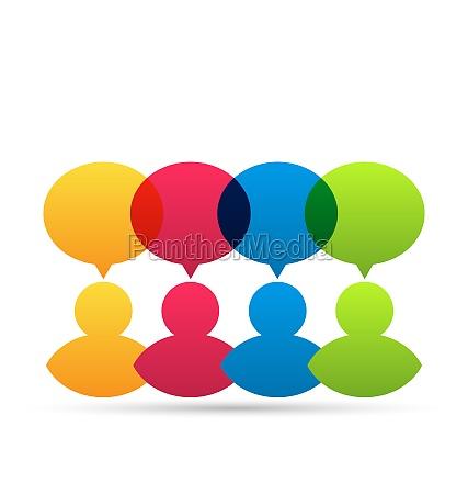 bunte personen ikonen mit dialog sprechblasen