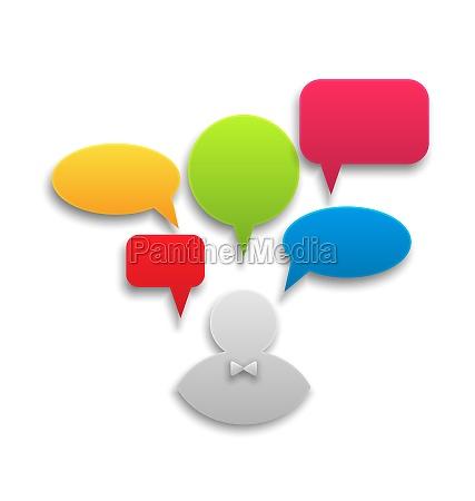 ikone des geschaeftsmannes mit bunten sprechblasen