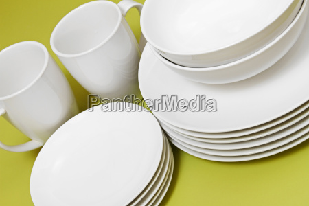 clean plates bowls and cups on