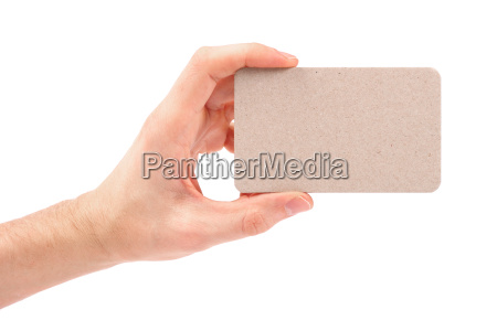 blank business card in hand isolated