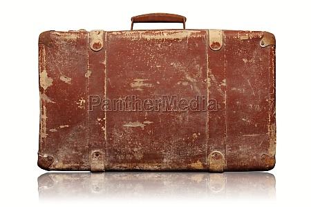 alten vintage koffer auf weissem hintergrund