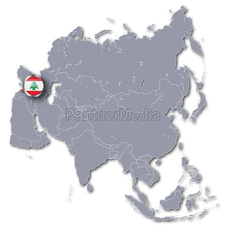 asienkarte mit libanon