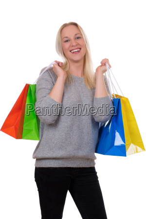 young blonde shopping with shopping bags