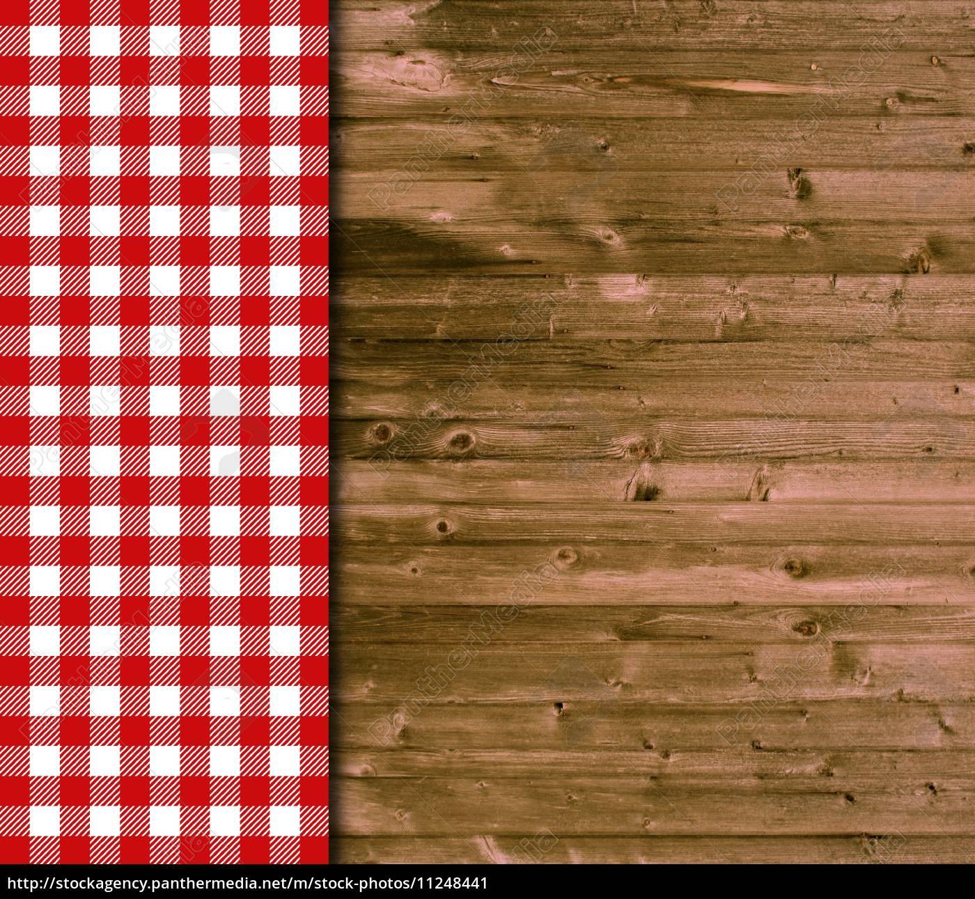 holz hintergrund und tischdecke mit rot wei en karos lizenzfreies bild 11248441. Black Bedroom Furniture Sets. Home Design Ideas