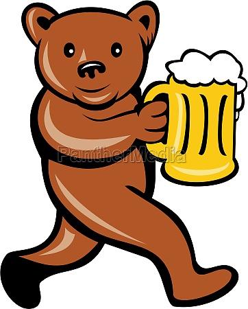 bear beer mug running side cartoon