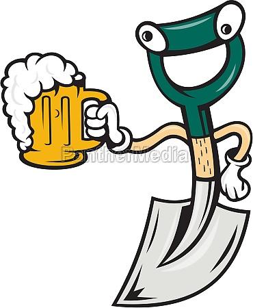 shovel holding beer mug cartoon