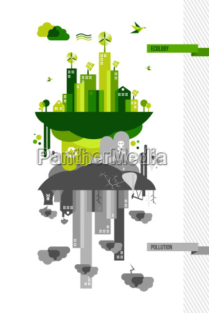 green environment city concept illustration