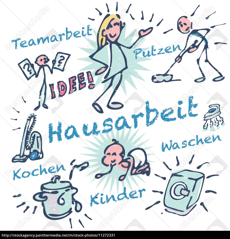 Strichmännchen Und Hausarbeit Lizenzfreies Bild 11272331