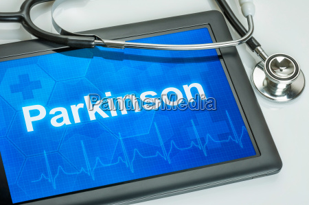 tablet diagnosed with parkinson on display