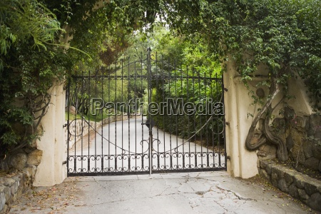 large closed wrought iron gate