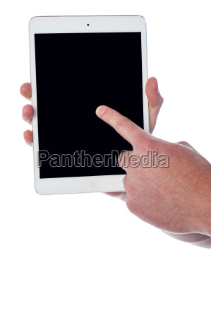 man hand pointing on touch pad