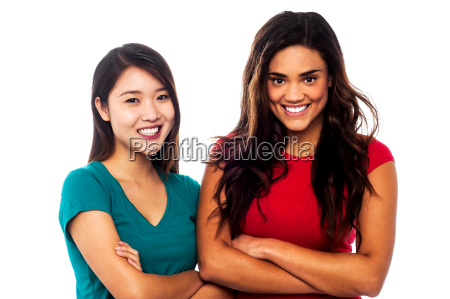 pretty girls posing with arms crossed