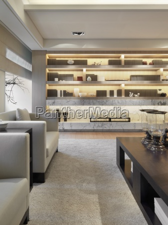 area rug and wall unit bookcase