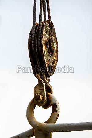 metall haken winde umlenkrolle anklammern seilrolle