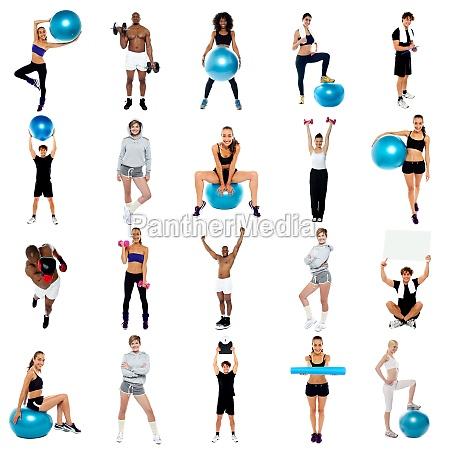 gesundheit konzept collage uebung und fit