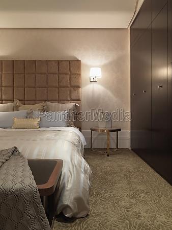 bedroom with textured carpet