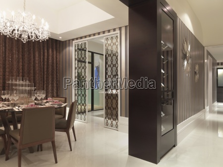 elegant dining room with chandelier and