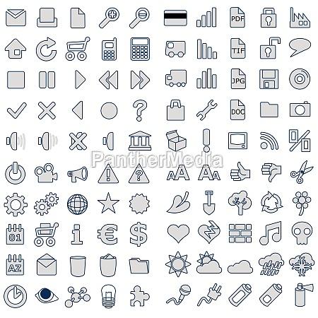 100 web icons in grau