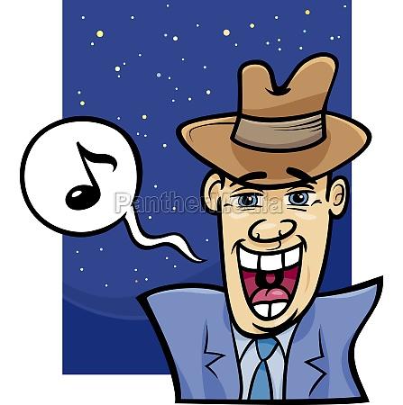 singing man cartoon illustration