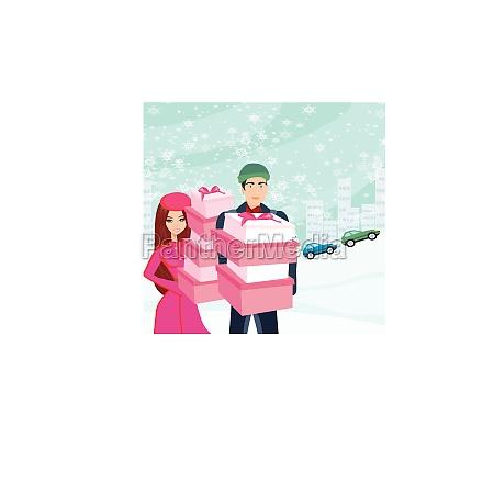 paar auf weihnachtseinkauf