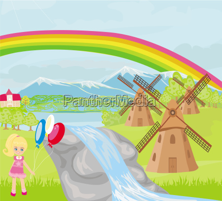 spring landscape with windmills and a
