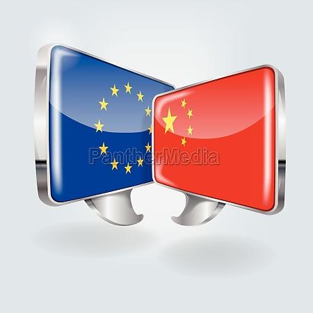 sprechblasen mit europa und china