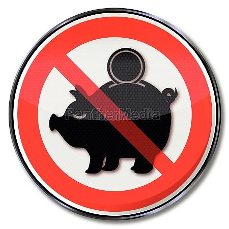 sign sparschweinchen and low interest rates