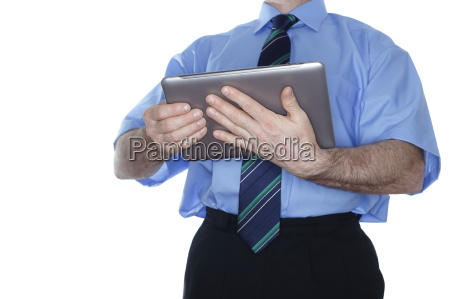 business man with mobile pc