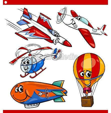 lustige karikaturflugzeugfahrzeuge eingestellt