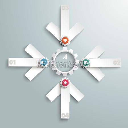 4 white arrows cross gear centre