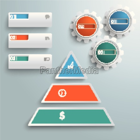 colored pyramide 3 pieces gears banners