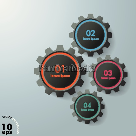 four gears infographic design black edition